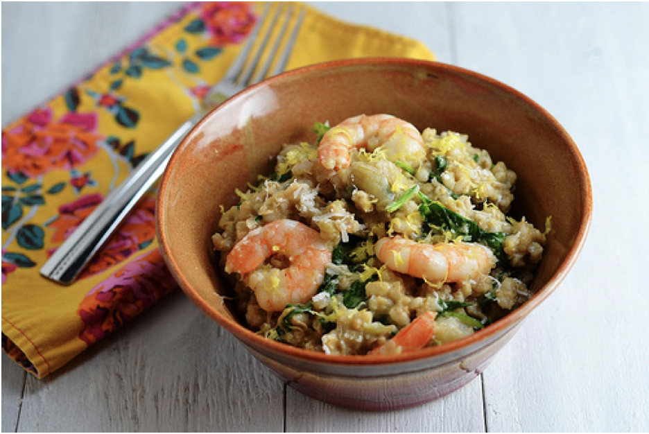 Slow Cooker Shrimp & Artichoke Barley Risotto