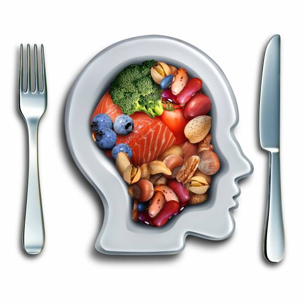 Brain food to boost brainpower nutrition as a group of nutritious nuts fish vegetables and berries rich in omega-3 fatty acids with vitamins and minerals for mind health
