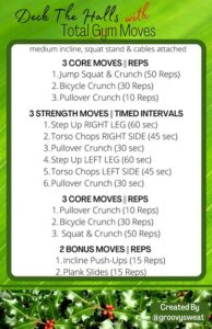 Deck the Halls with Fitness2020 cheat sheet